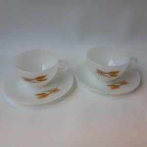 Fire King Golden Whest Cup and Saucer Lot of 2